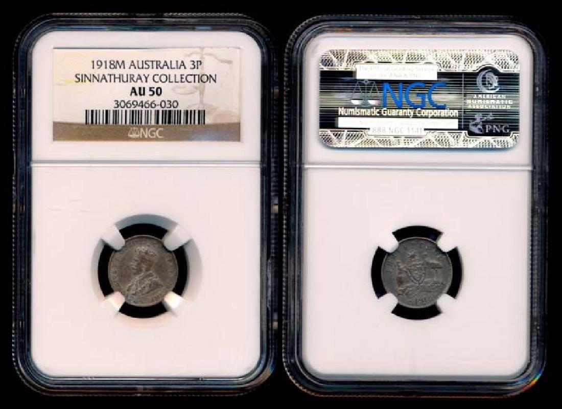 Australia KGV 3 Pence 1918M NGC AU50