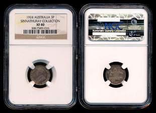 Australia KGV 3 Pence 1924 NGC XF40