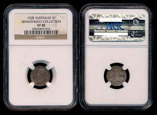 Australia KGV 3 Pence 1928m NGC VF30