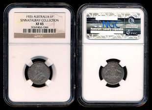 Australia KGV 6 Pence 1926m sy NGC XF45