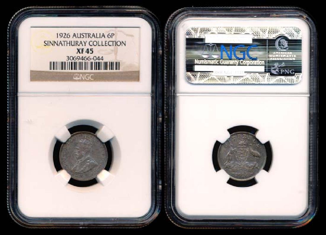 Australia KGV 6 Pence 1926(m & sy) NGC XF45