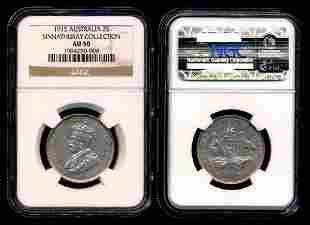 Australia KGV 2 Shillings 1915L NGC AU50