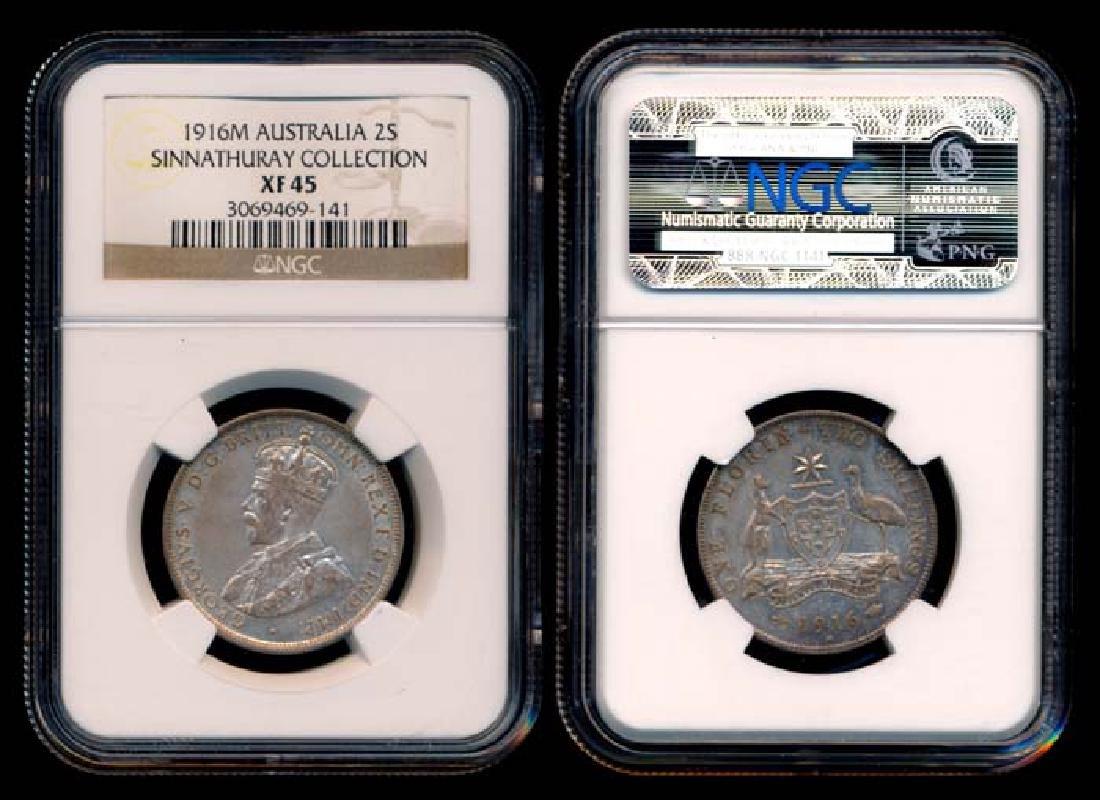 Australia KGV 2 Shillings 1916M NGC XF45