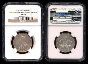 Australia KGV 2 Shillings 1934m NGC XF40