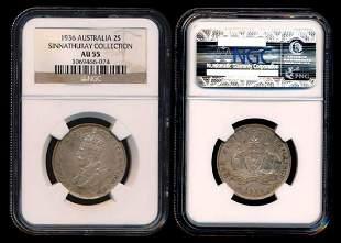 Australia KGV 2 Shillings 1936m NGC AU55
