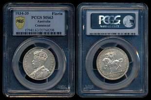 Australia KGV 2 Shillings 193435 PCGS MS63