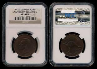 Australia KGVI Penny 1942 NGC VF35BN