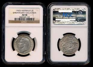 Australia KGVI 2 Shillings 1942S NGC AU58