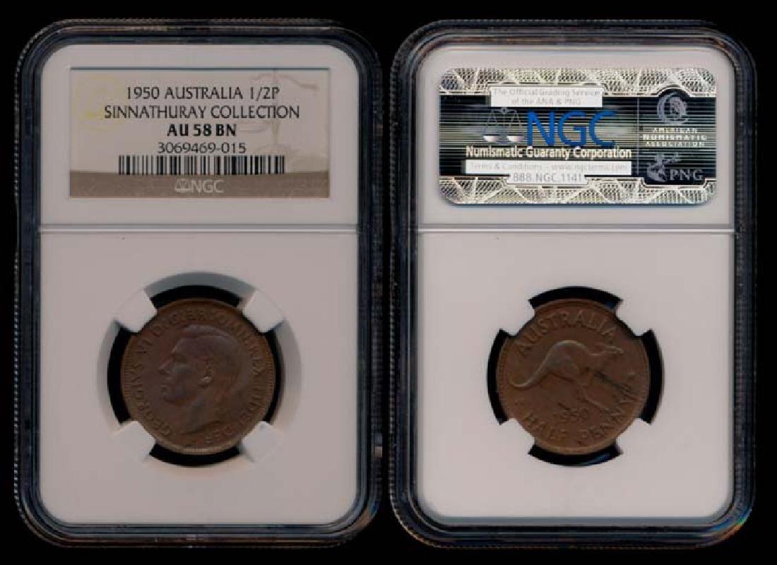 Australia KGVI Half Penny 1950(p) NGC AU58BN