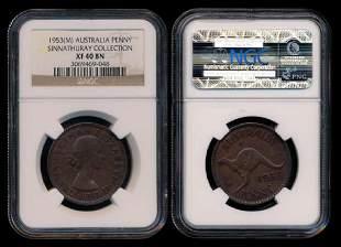 Australia QEII Penny 1953M NGC XF40BN