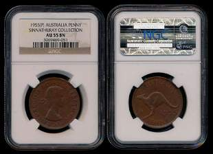 Australia QEII Penny 1955P NGC AU55BN
