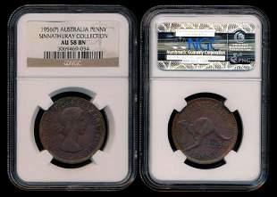 Australia QEII Penny 1956P NGC AU58BN