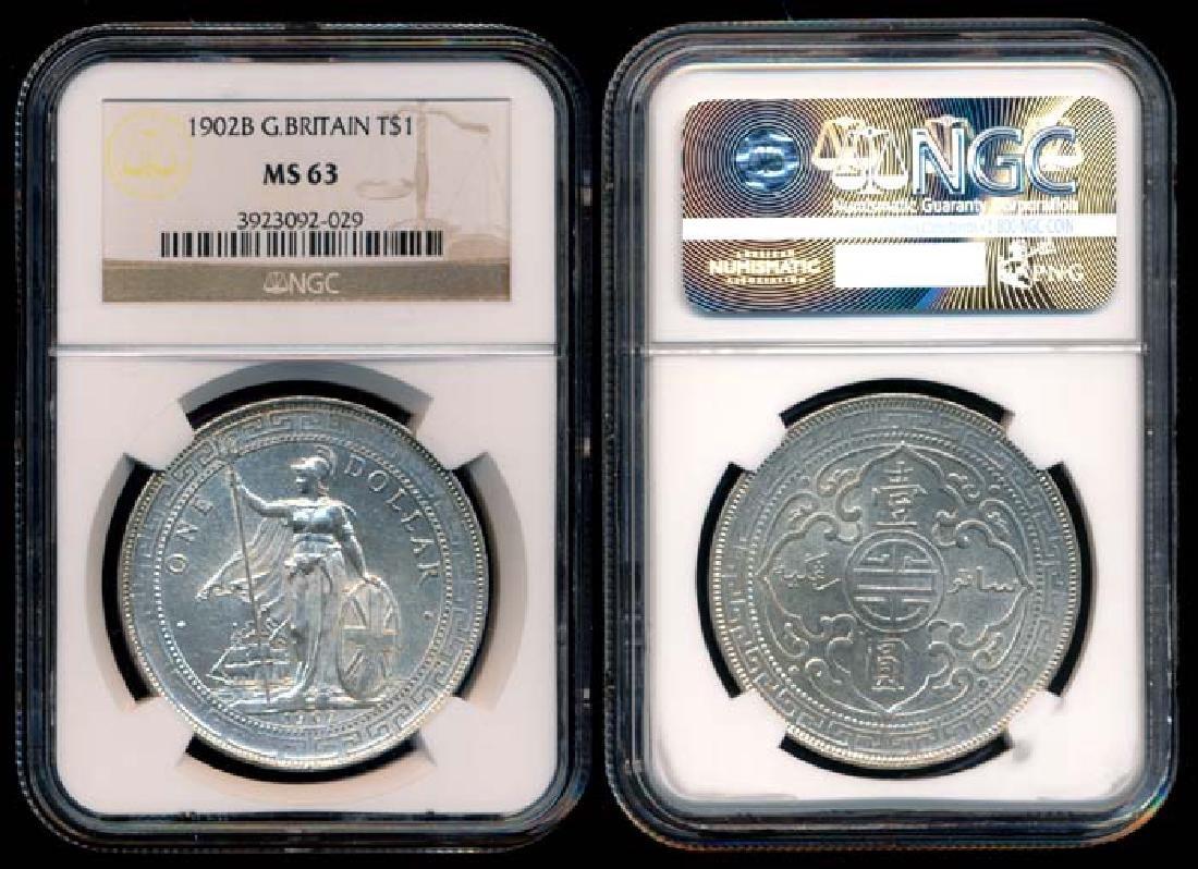 British Trade Dollars 1902B NGC MS63