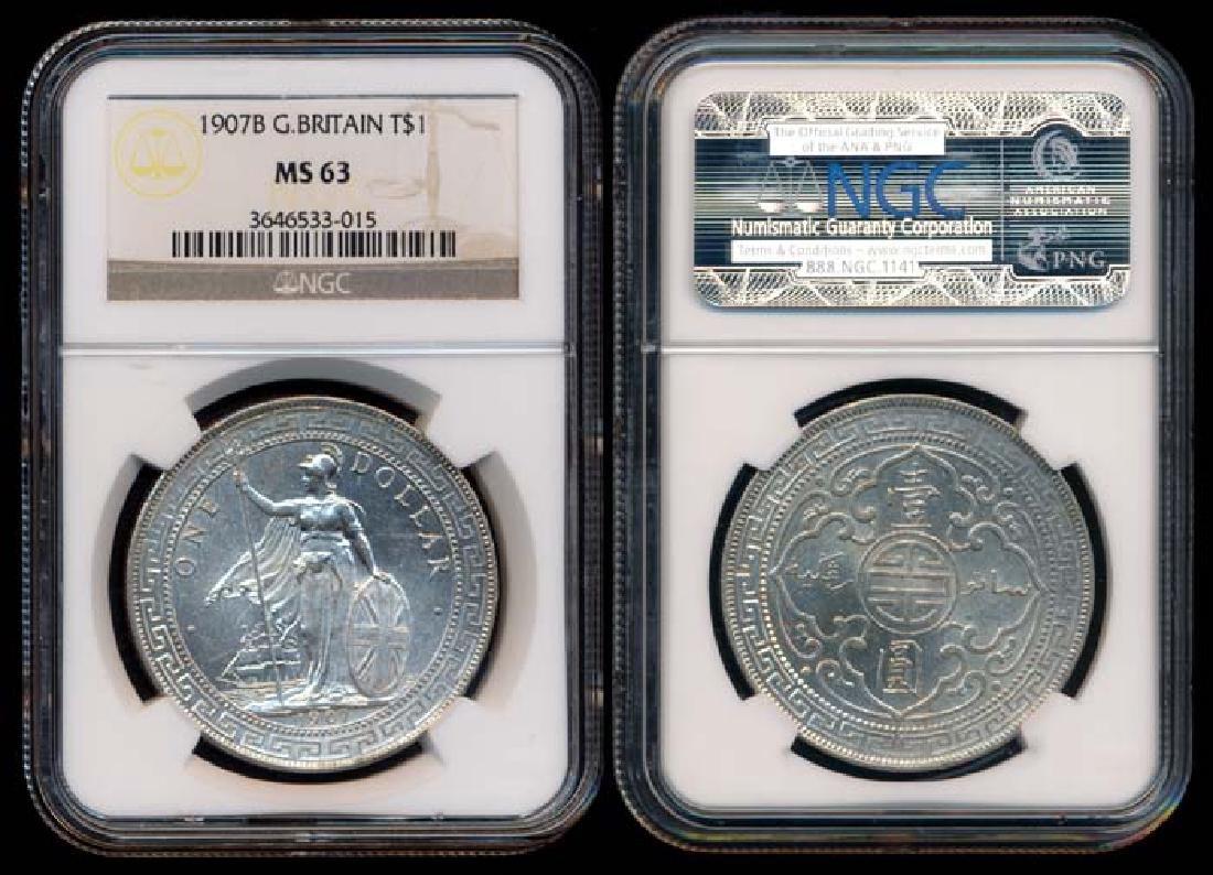 British Trade Dollars 1907B NGC MS63