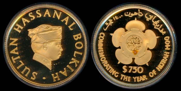 Brunei $750 1980 gold proof