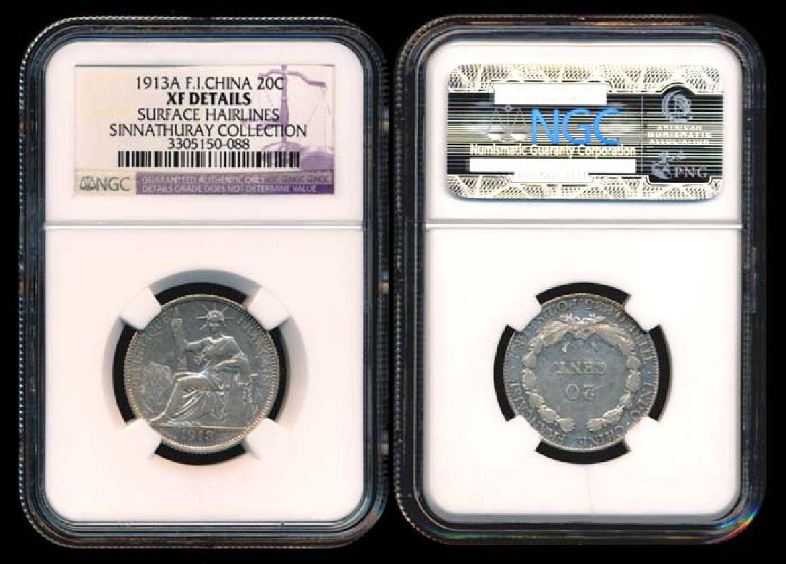 French Indo-China 20c 1913A NGC XF Det