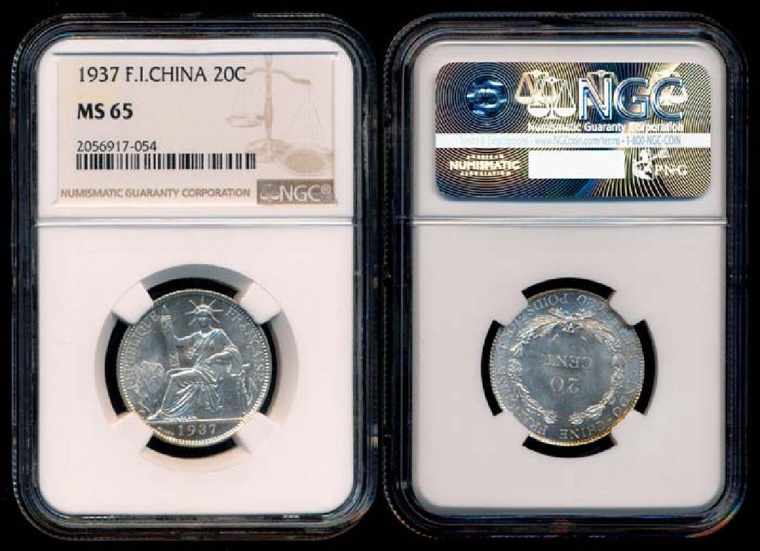 French Indo-China 20c 1937 NGC MS65