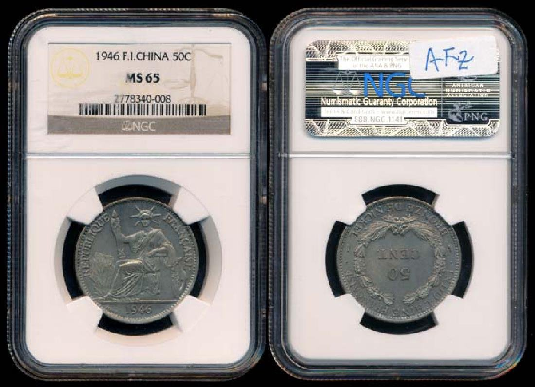 French Indo-China 50c 1946(a) NGC MS65