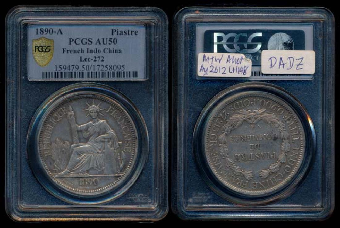 French Indo-China Piastre 1890A PCGS AU50