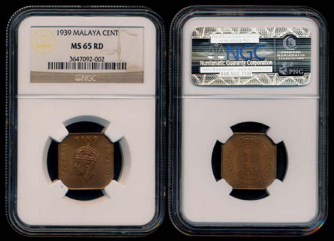 Malaya KGVI 1c 1939 NGC MS65RD