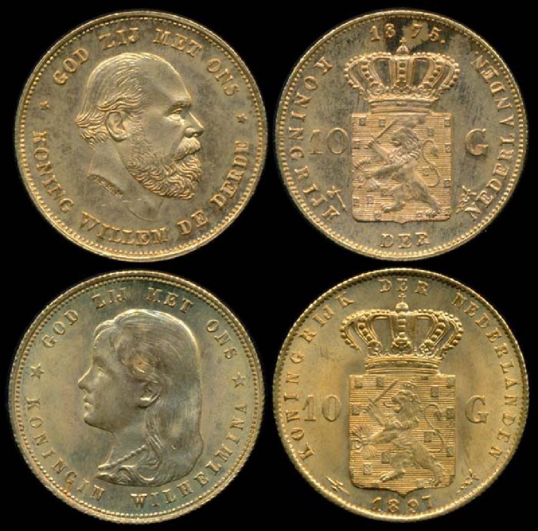 Netherlands 2x10 Gulden 1875-97 gold