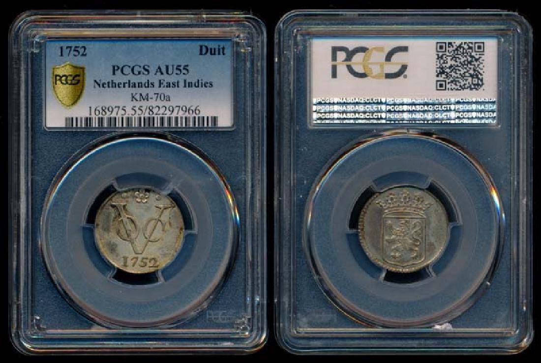 Netherlands East Indies Duit 1752 PCGS AU55