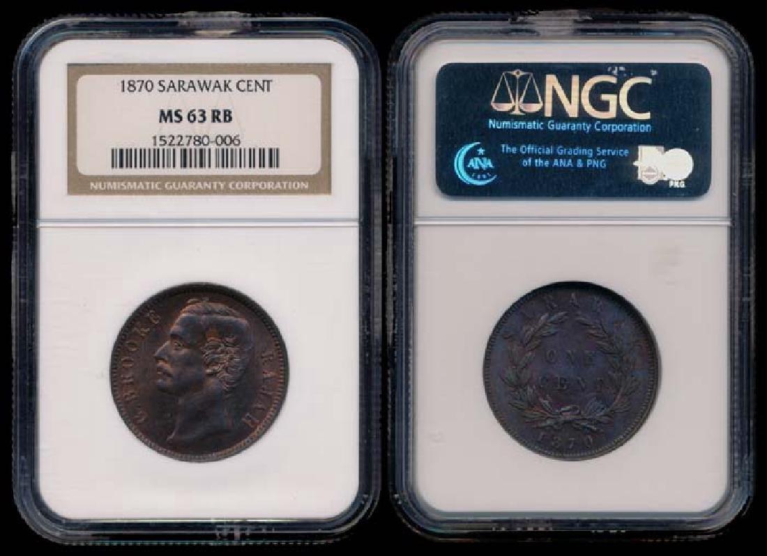 Sarawak C Brooke 1c 1870 NGC MS63RB