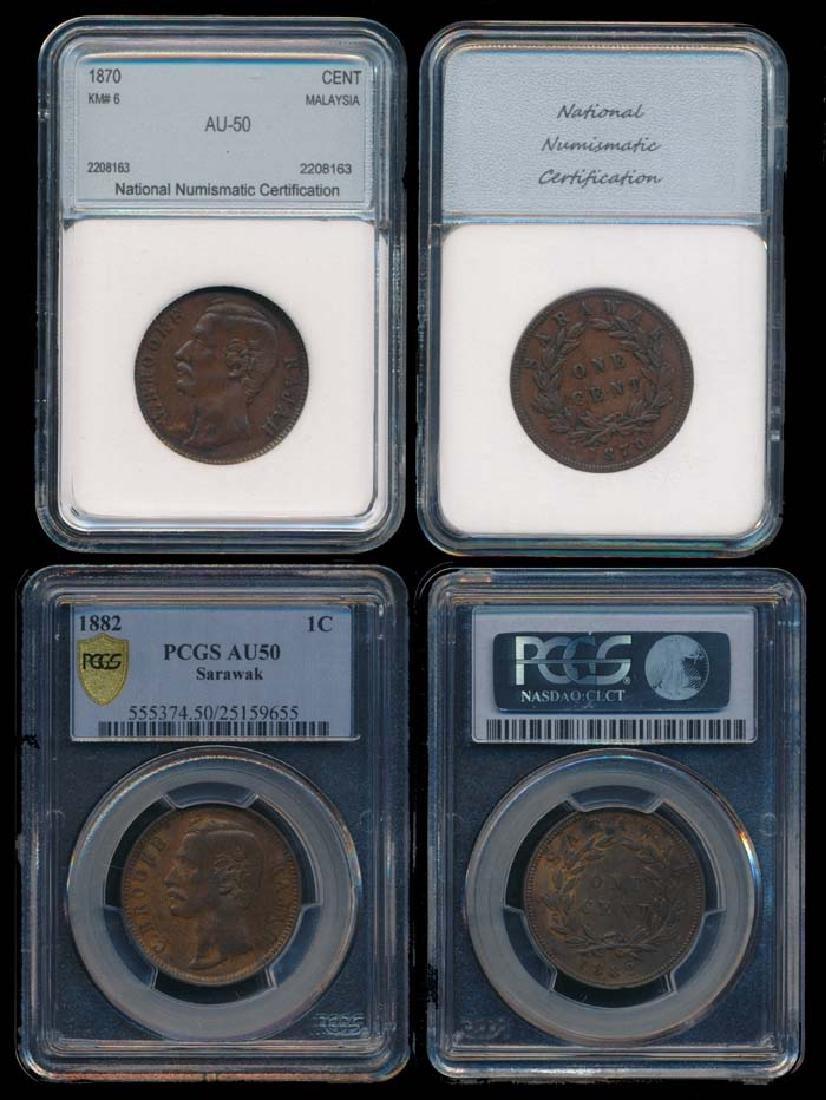 2 Sarawak C Brooke 1c 1870-82 PCGS