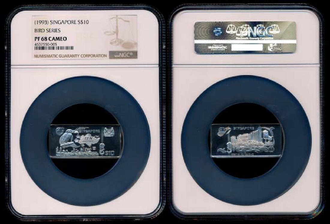Singapore $10 1993 ingot NGC PF68 Cameo