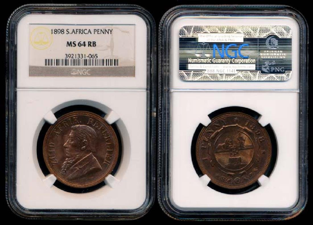 South Africa Penny 1898 NGC MS64RB
