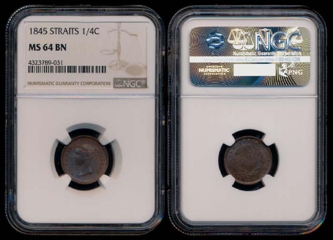 Straits Settlements EIC 1/4c 1845 NGC MS64BN