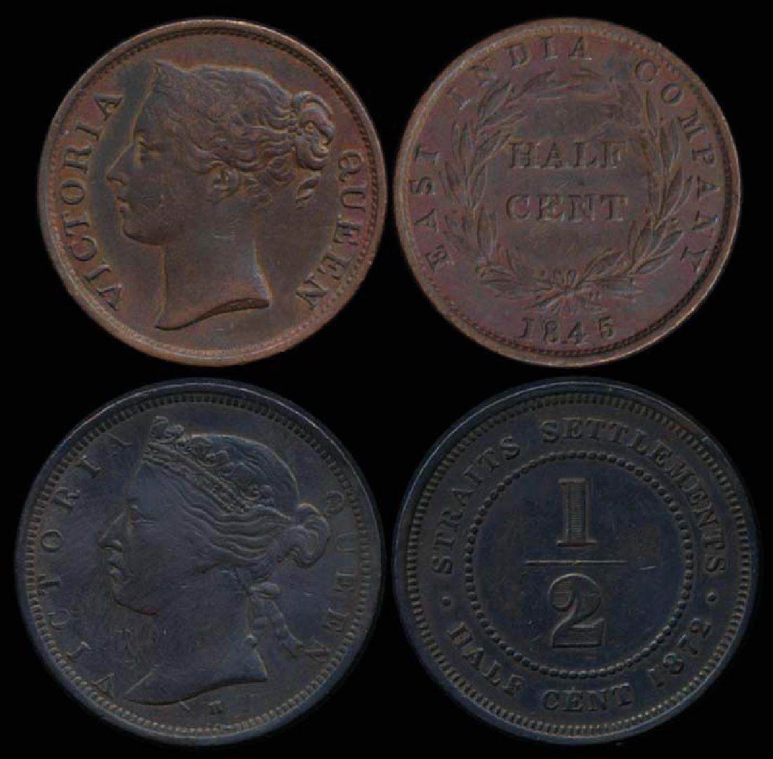 2 Straits Settlements 1/2c 1845-1872