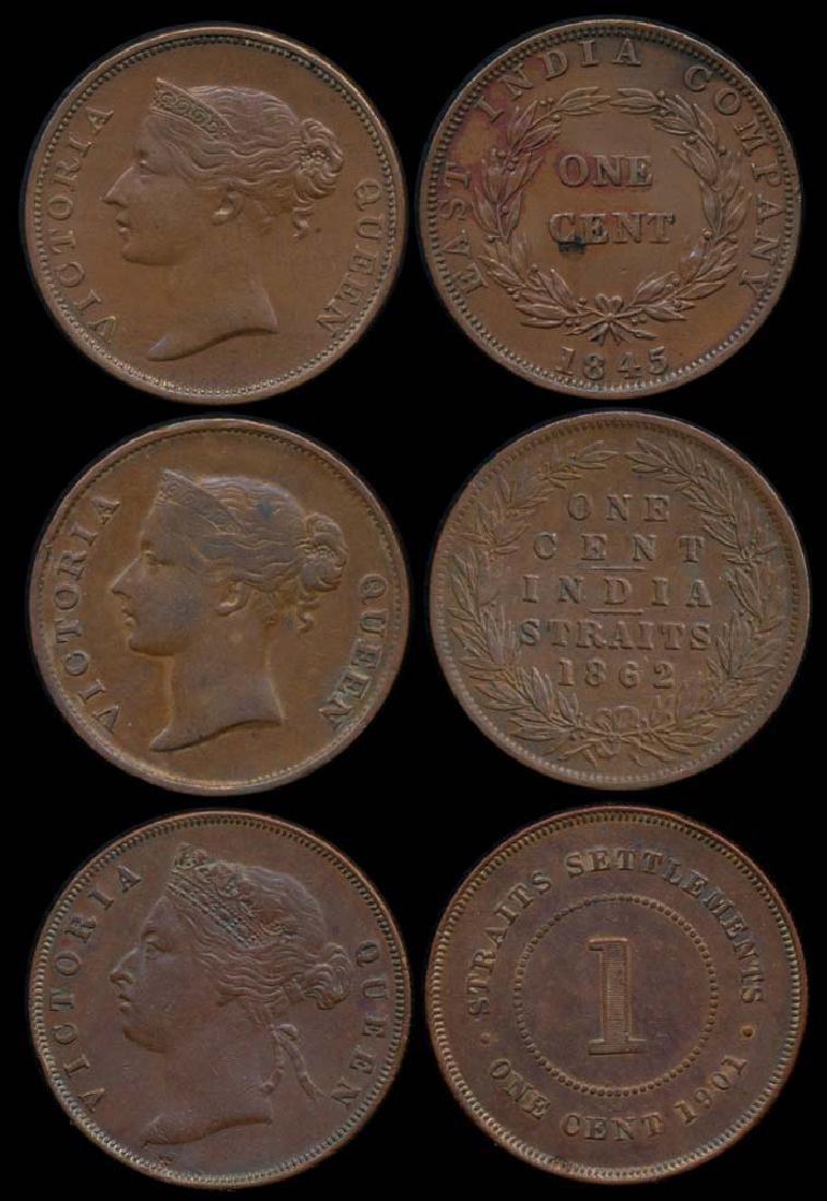 3 Straits Settlements EIC 1c 1845-1901