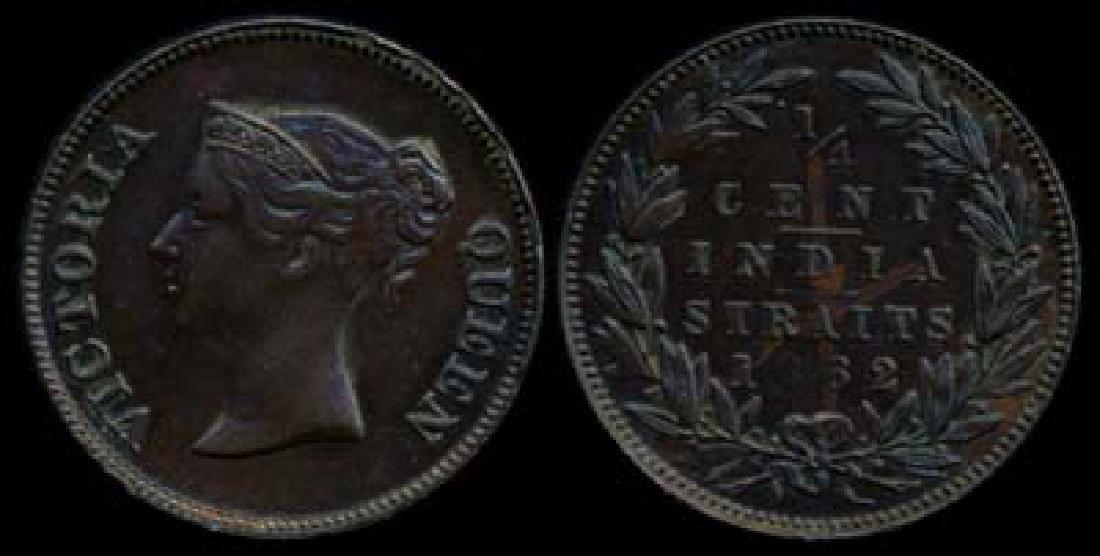 Straits Settlements 1/4c 1862 EF