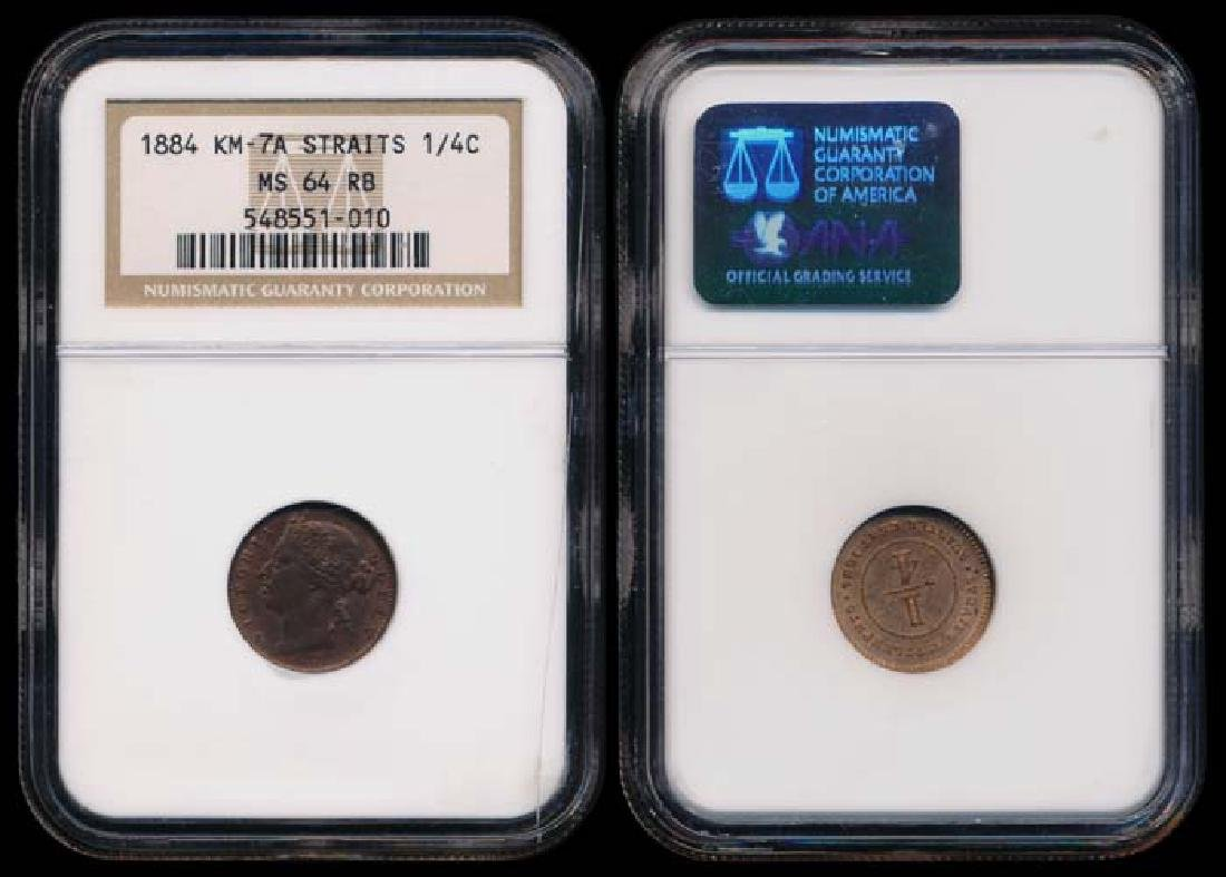 Straits Settlements QV 1/4c 1884 NGC MS64RB