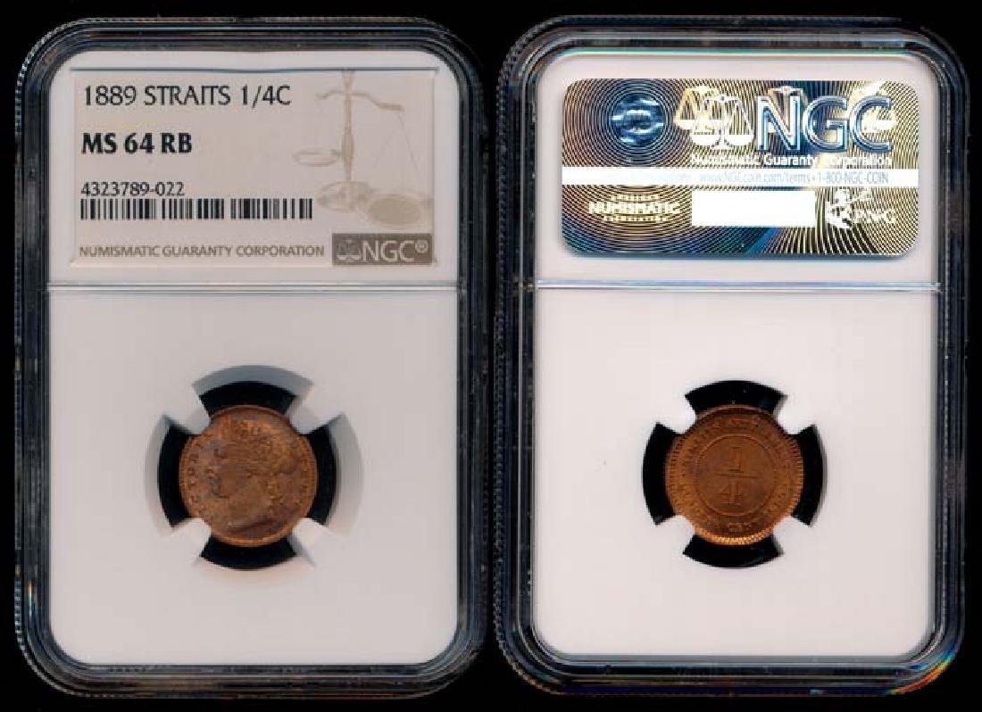 Straits Settlements QV 1/4c 1889 NGC MS64RB