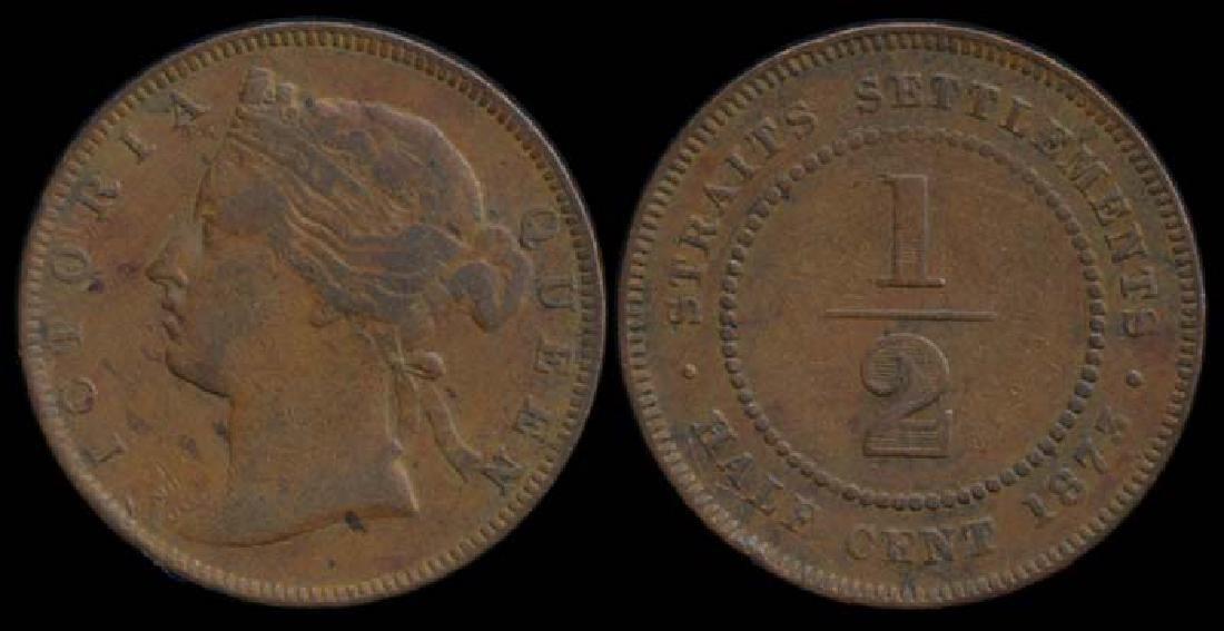 Straits Settlements QV 1/2c 1873 fine