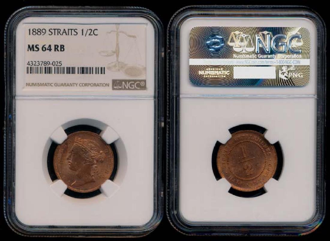 Straits Settlements QV 1/2c 1889 NGC MS64RB