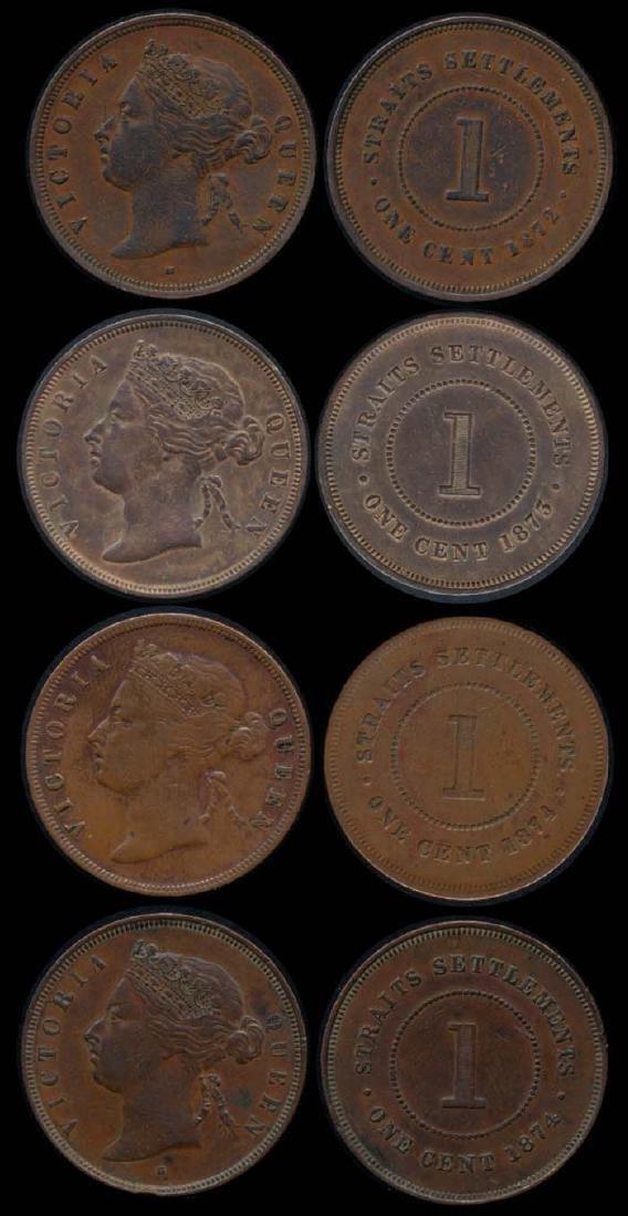 4 Straits Settlements QV 1c 1872-74 AVF-EF