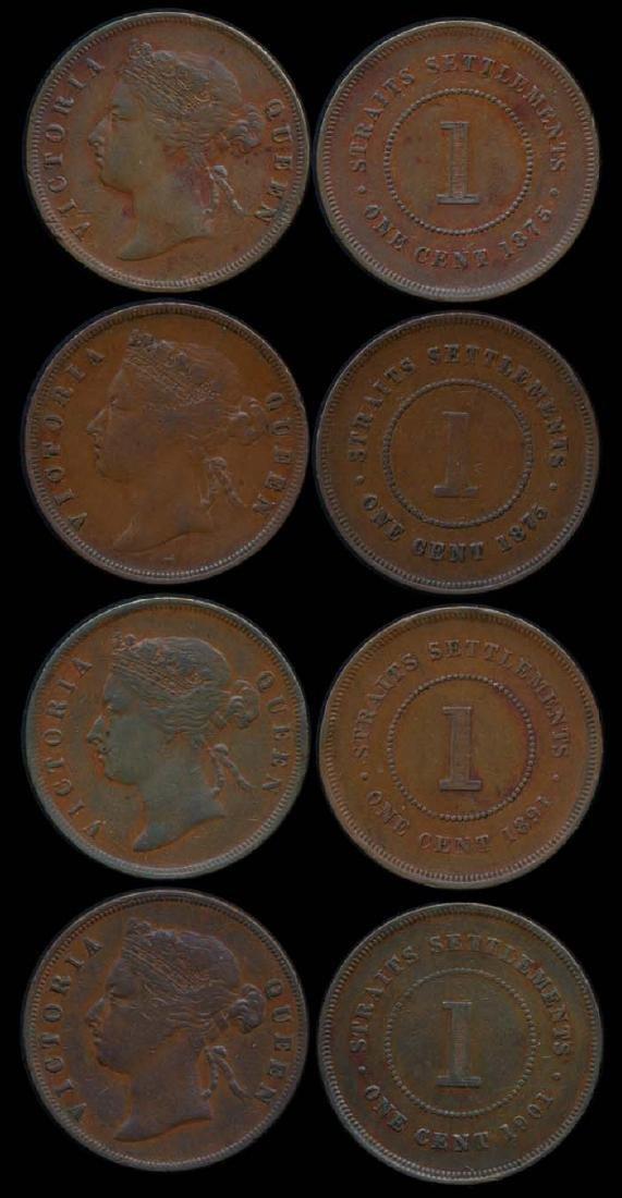 4 Straits Settlements QV 1c 1875-1901 EF