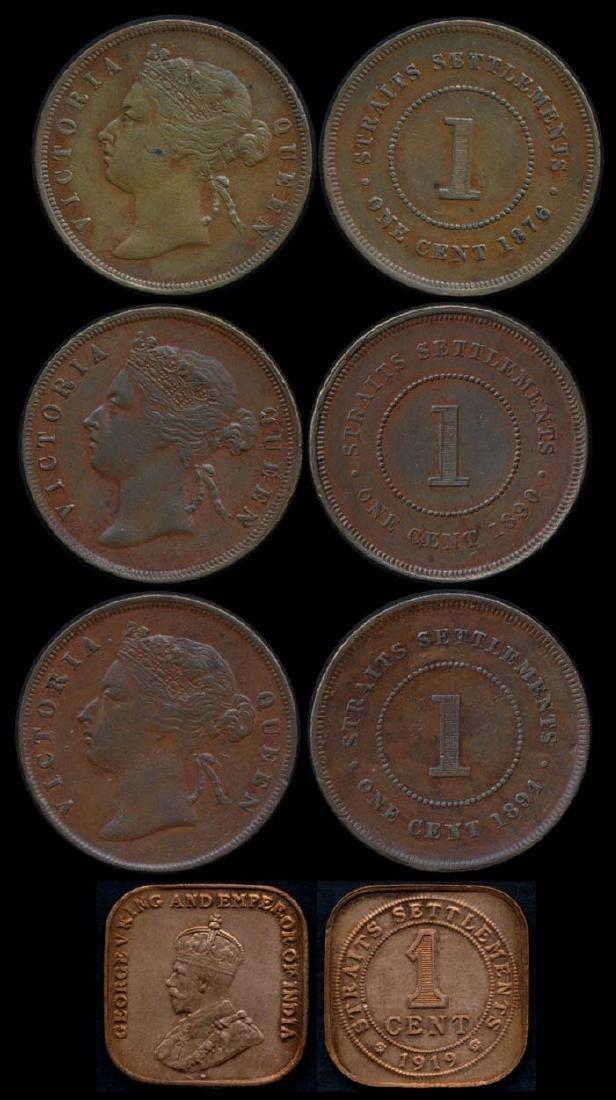 4 Straits Settlements 1c 1876-1919 EF