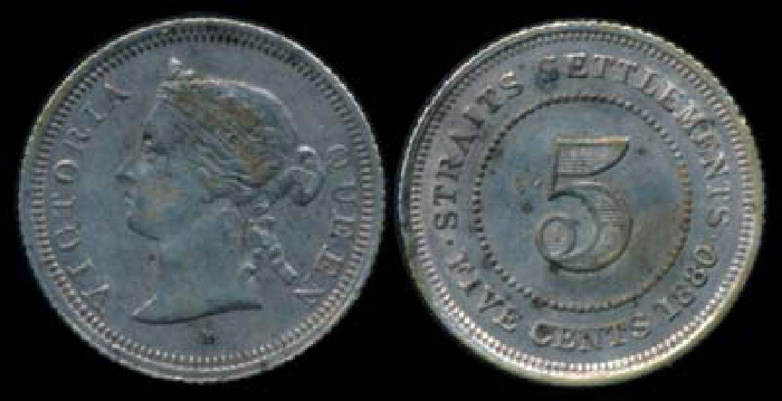 Straits Settlements QV 5c 1880H GVF-EF