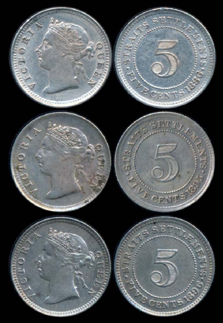 3 Straits Settlements QV 5c 1886-96  EF