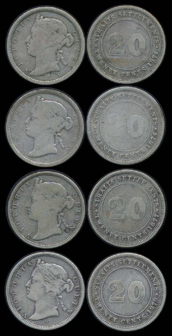 4 Straits Settlements QV 20c 1872-79