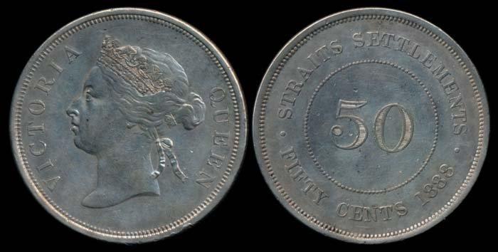 Straits Settlements QV 50c 1888 EF