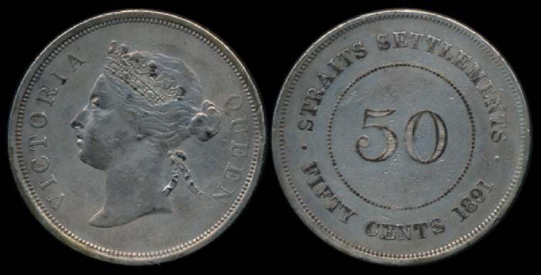 Straits Settlements QV 50c 1891 GVF