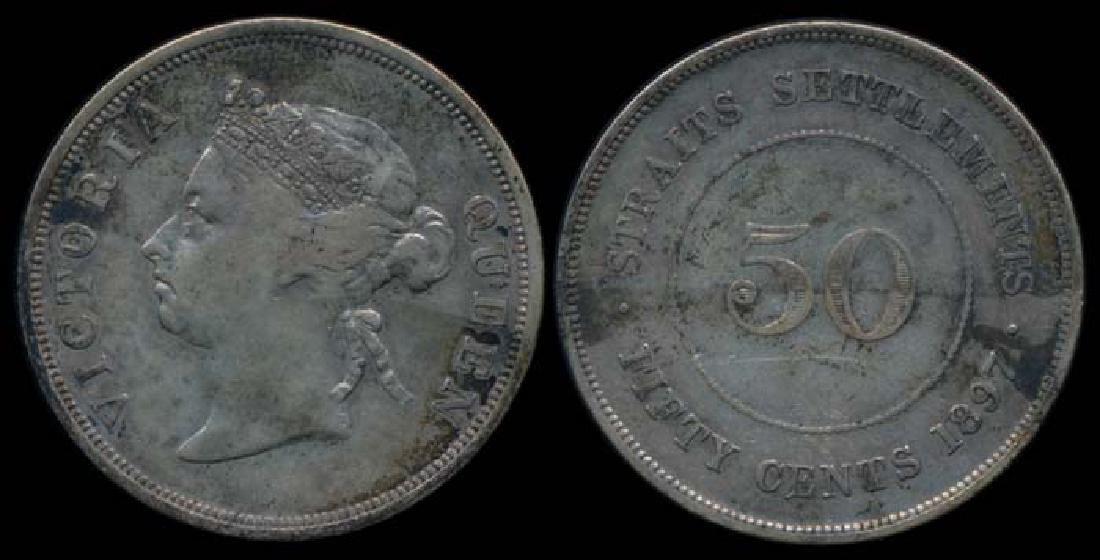 Straits Settlements QV 50c 1897 VF