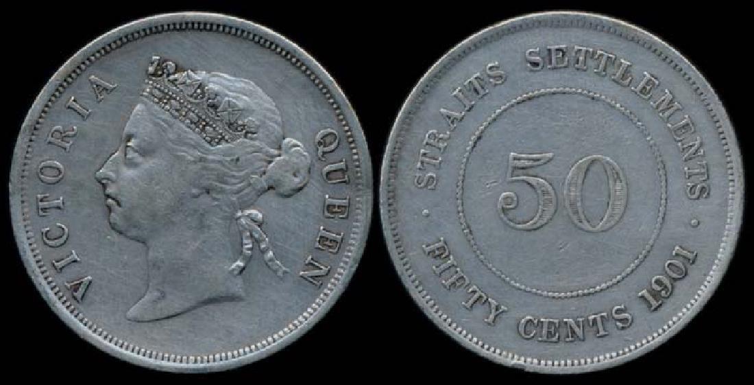 Straits Settlements QV 50c 1901 VF