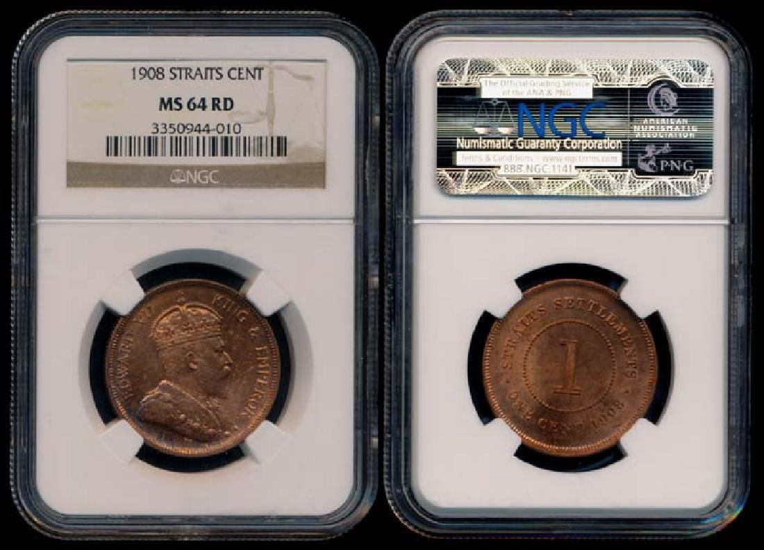 Straits Settlements KEVII 1c 1908 NGC MS64RD