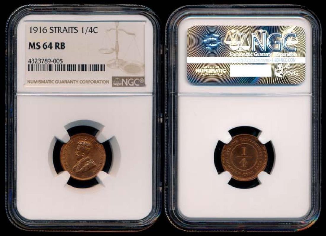 Straits Settlements KGV 1/4c 1916 NGC MS64RB